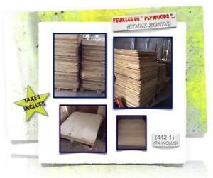 {450}-(#06) PLYWOODS \(Coins-Ronds) > (2x)Dimensions -  3.99$ /c