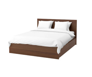 MALM QUEEN BED FRAME - 4 STORAGE BOXES $200