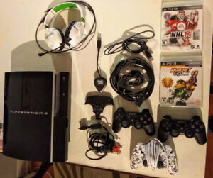 Playstation 3 (PS3): 3 controllers, 2 games, & headset - $85 OBO