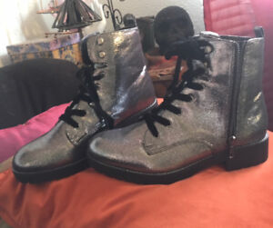 NEW Sparkly Silver Combat Boots - Women's 9.5 / 10