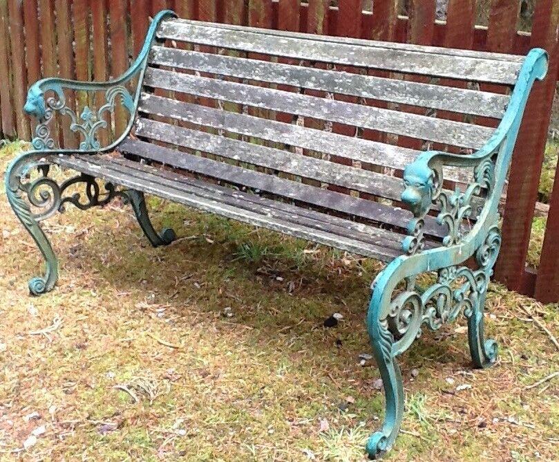 Antique / vintage garden bench decorative cast iron ends