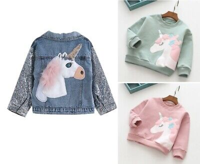 Unicorn Denim Jacket For Girls Toddler Coat Children Outerwear Fashion Clothing](Outerwear For Girls)