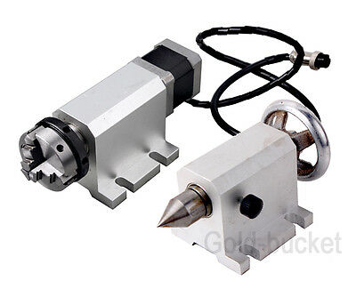 Cnc Router Rotary A Axis 50mm Chuck 4th-axis And Tailstock For Engraving Machine