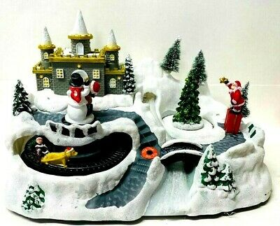 Christmas Animated LED Musical Mountain Village Scene Rotating Snowman And Tree