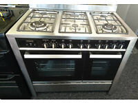 Ho59 stainless steel cda 100cm 6 burner dual fuel cooker comes with warranty can be delivered
