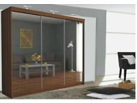Lux Three Door Sliding Full Mirror Wardrobe In Different Colours Available Grey/White/Black