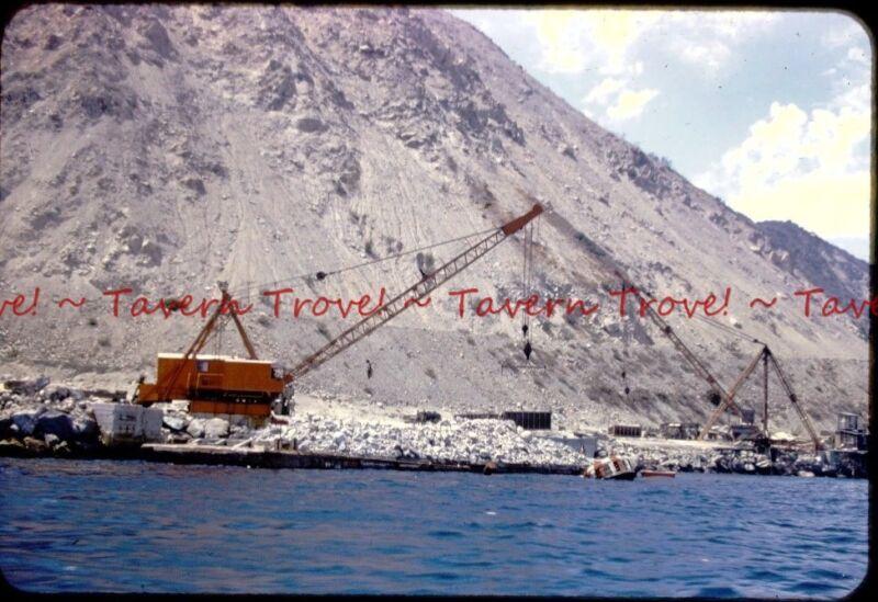 7-31-1953 CALIFORNIA Crane loading rocks in Barges, Los Angeles Harbor Slide t80