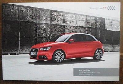 AUDI A1 orig 2011 UK Mkt Prices & Specification Brochure