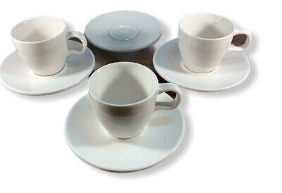 Set Of 3 Starbucks Espresso Cups And Saucers White At Home Collection 2004