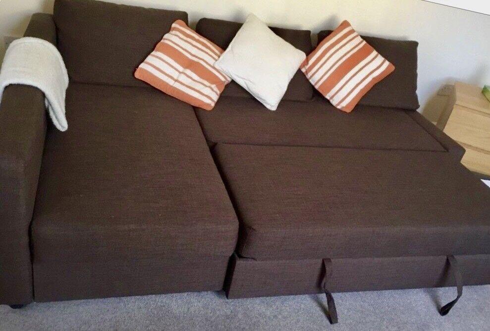 Ikea Friheten Brown Corner Sofa Bed L Shaped With Storage 1 5 Years Old Good