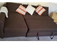 IKEA FRIHETEN BROWN CORNER SOFA BED (L SHAPED) WITH STORAGE 1.5 YEARS OLD GOOD USED CONDITION