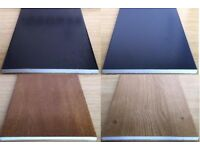 9mm Flat Soffit Skirting Plastic shower Board In Anthracite, Irish, Golden Oak Black Foil grain