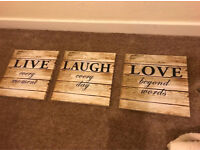 Love laugh and Live Canvas