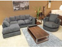 BRAND NEW DYLAN JUMBO CORD CORNER OR 3+2 SEATER SOFFA SET AVAILALE IN STOCK