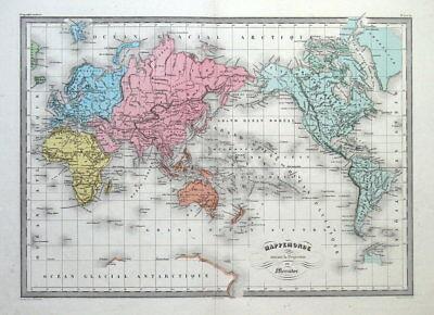 WORLD on Mercator's projection, Original Malte Brun antique map c1850