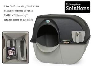 NEW Omega Paw Elite Self Cleaning Roll n Clean Litter Box, Midnight Black, Large Condtion: New