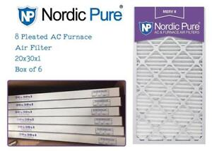 NEW Nordic Pure 20x30x1M8-6 MERV 8 Pleated AC Furnace Air Filter, 20x30x1, Box of 6 Condtion: New, 20x30x1