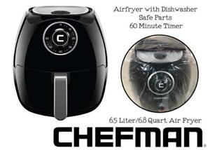 NEW Chefman 6.5 Liter/6.8 Quart Air Fryer with Space Saving Flat Basket Oil Hot Airfryer with Dishwasher Safe Parts 6...