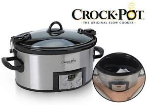 NEW Crock-Pot 6-Quart Programmable Cook and Carry Oval Slow Cooker, Digital Timer, Stainless Steel, SCCPVL610-S Condt...