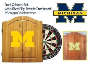 NEW Imperial Officially Licensed NCAA Merchandise: Dart Cabinet Set with Steel Tip Bristle Dartboard, Michigan Wolver...