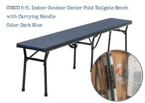 NEW COSCO 6 ft. Indoor Outdoor Center Fold Tailgate Bench with Carrying Handle, Dark Blue Bench Top, Black Frame, 2-p...