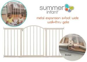 Summer Infant 27284Z Metal Expansion 6-Foot Wide Walk-Thru Gate, Beige Condtion: Broken latch, could be fixed or repl...