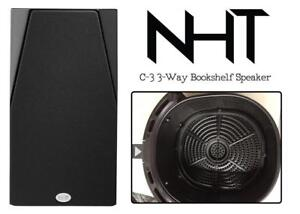 NEW NHT C Series C-3 3-Way Bookshelf Speaker (Single) - High Gloss Black Condtion: New, Front plate pin broken, 3-Way...