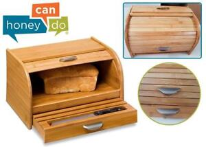 One side creased. New Honey-Can-Do KCH-01081 Bamboo Rolltop Bread Box with Pull-Out Drawer One side creased. New, Bam...