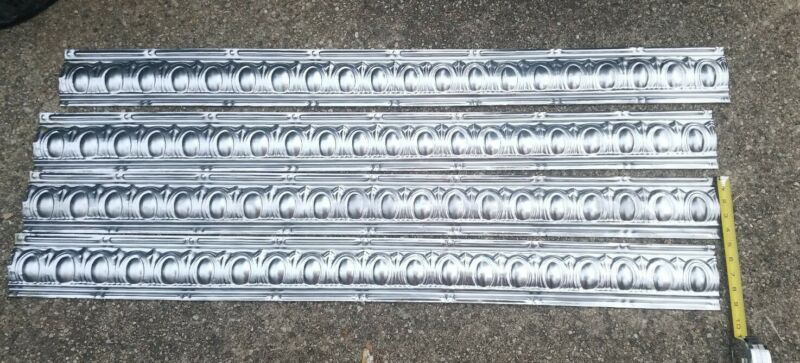 """4 New Old Stock 4 Feet x 4.25"""" Crown Molding Antique Ceiling Tin A&P Store groce"""
