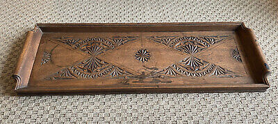 Antique Carved Wooden Tray Scroll Handles