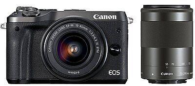 как выглядит Фотоаппарат Canon EOS M6 Digital Camera EF-M 15-45mm/ 55-200mm Double Zoom Lens Kit -Black- фото