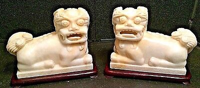 - Asian Foo Dog Lion Carved Stone Statue Bookends w/ Storage Box Vintage Art