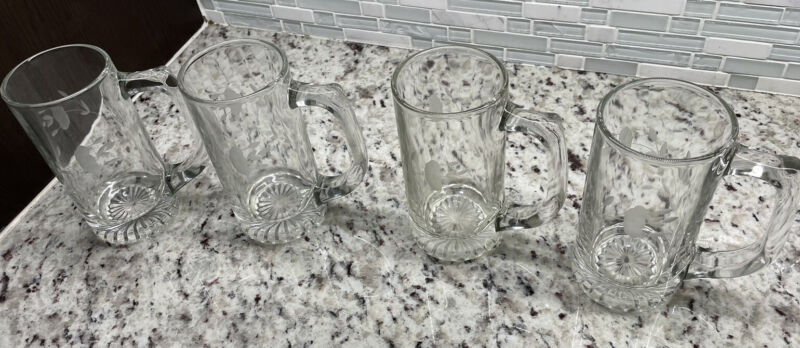 """Lot Of 4 Princess House Crystal Mugs 6"""" Tall Heritage beer cocoa etched glass"""