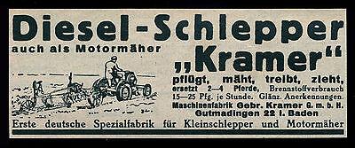 Alte Werbung Reklame 1937 Diesel-Schlepper Kramer Gutmadingen Baden