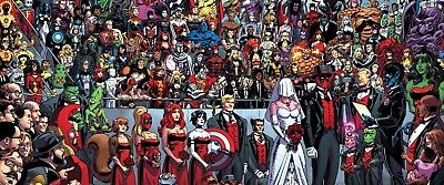 Marvel Comic Book - Deadpool Wedding Cartoon Wall Art Framed Canvas Pictures ()