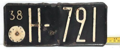 FINLAND - 1938 motorcycle license plate - rare early example, from Hame