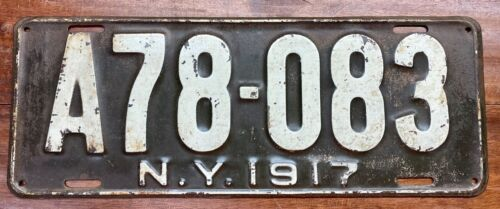 VERY NICE ORIGINAL 1917 NEW YORK LICENSE PLATE, A78 083, BEAUTIFUL PATINA!