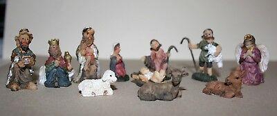 Krippenfiguren 11-tlg 1 bis 3,5 cm h - Krippenzubehör Weihnachten Polyresin