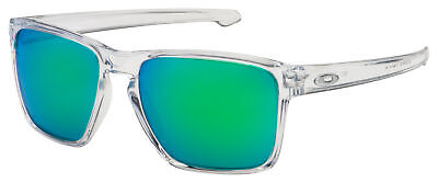 Oakley Sliver XL Sunglasses OO9341-0257 Polished Clear | Jade Iridium (Green Oakley Sunglasses)