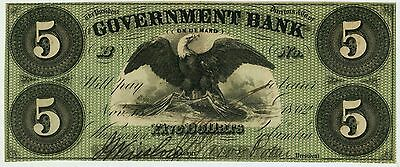 Washington DC - Government Bank $5 Nov. 15, 1862 Gr6 Superb Gem Crisp Example