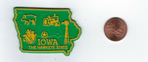 """IOWA   """"THE HAWKEYE  STATE""""  IA      MAP  OUTLINE MAP MAGNET   NEW  made in USA"""