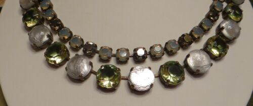 Vintage Necklace Moonstones and Peridot Stones Signed JL Blin Paris