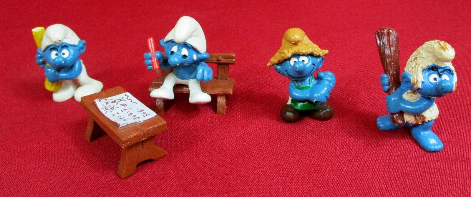 4 alte PEYO Schleich Schlumpf-Figuren Die Schlümpfe Gummifiguren 1981-1994