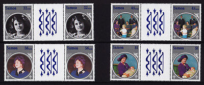 Samoa - 1985 Queen Mother's 85th Birthday - U/M - SG 700-703  GUTTER PAIRS