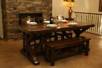 Reclaimed Wood Chateau Trestle Dining Table by LIKEN