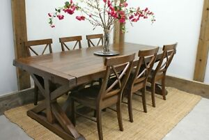 Harvest Chateau Trestle Dining Table, All Solid Wood - by LIKEN Woodworks
