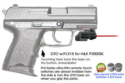 ArmaLaser GTO for H&K P2000SK RED Laser Sight w/ FLX15 Grip Touch Activation