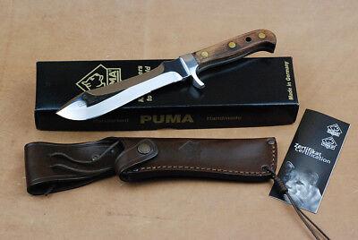 Puma Jagdmesser AUTO mit Holz-Griff und hochwertige Lederscheide Jagd Messer ()