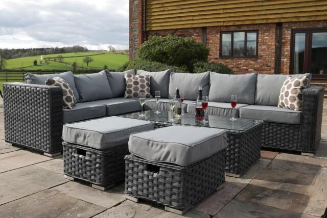 conservatory modular 8 seater rattan corner sofa set garden furniture grey