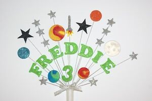NAME, AGE SPACE,ROCKET AND PLANETS BIRTHDAY CAKE TOPPER